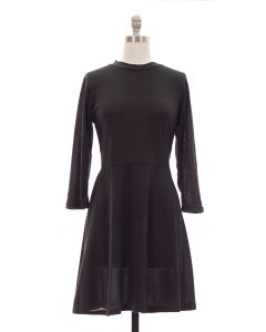 3/4 Sleeve Hacci Flare Dress - Black