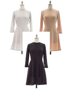 3/4 Sleeve Hacci Flare Dress - Asst