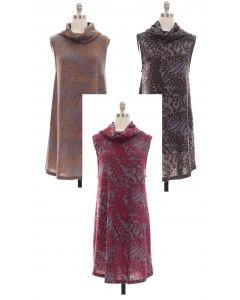 Cowl Neck Printed Sleeveless Dress - Asst