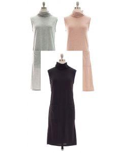 Hacci Cowl Neck Sleeveless Dress w Pockets - Asst