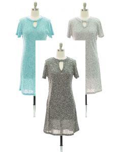 Keyhole Front Hacci Midi Dress - Assorted