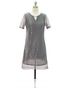 Bar Yoke Lace Shell Midi Dress - Grey