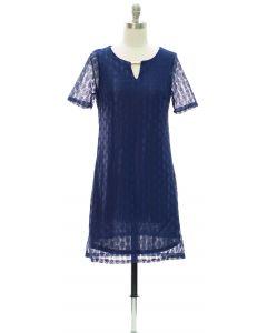 Bar Yoke Lace Shell Midi Dress - Blue