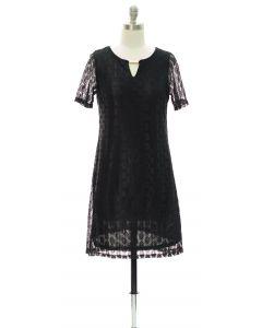 Bar Yoke Lace Shell Midi Dress - Black