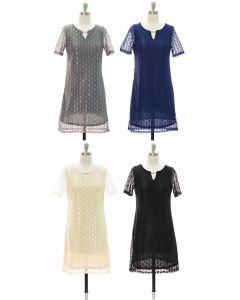 Bar Yoke Lace Shell Midi Dress - Assorted