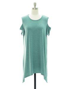 Cold Shoulder Knit Midi Dress - Green