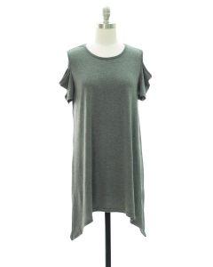 Cold Shoulder Knit Midi Dress - Black