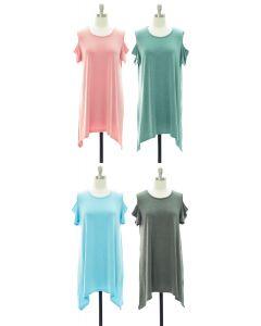 Cold Shoulder Knit Midi Dress - Assorted