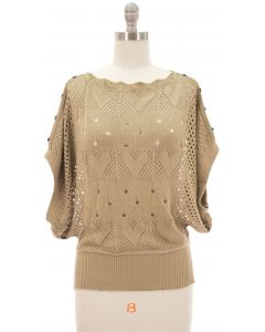 Buttoned Crochet Top - Taupe