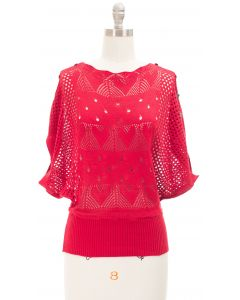 Buttoned Crochet Top - Red