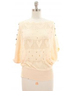 Buttoned Crochet Top - Ivory
