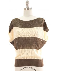 Striped Crochet Top - Taupe