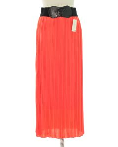 Faux Belt Pleated Skirts - Coral