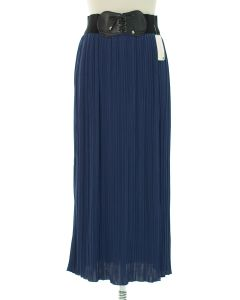 Faux Belt Pleated Skirts - Navy