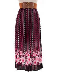 Belted Floral Pleated Skirt - Pink