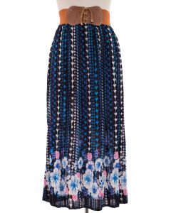 Belted Floral Pleated Skirt - Blue