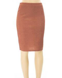 Embossed Pencil Skirt - Brown