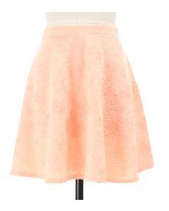 Floral Embossed Skater Skirt - Pink