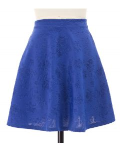 Floral Embossed Skater Skirt - Royal Blue