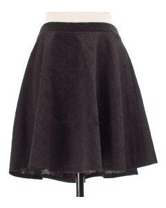 Floral Embossed Skater Skirt - Black