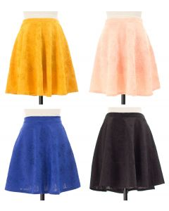 Floral Embossed Skater Skirt - 24 pcs