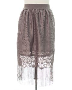 Lace Shell Knee Lengh Skirt - Grey