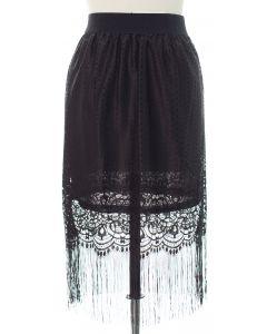 Lace Shell Knee Lengh Skirt - Black