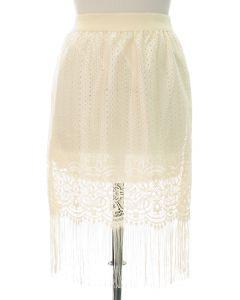 Plus Plus Lace Shell Knee Lengh Skirt - Ivory