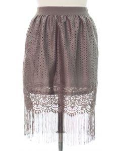 Plus Plus Lace Shell Knee Lengh Skirt - Grey