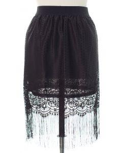 Plus Plus Lace Shell Knee Lengh Skirt - Black