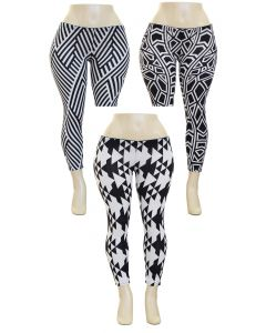 Plus. Geo Hacci Leggings - Asst