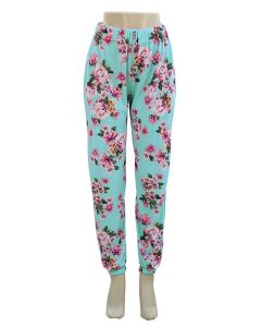 Floral Joggers - Turquoise