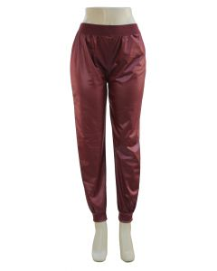 Faux Leather Joggers - Wine